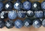 CTG3574 15.5 inches 4mm faceted round dumortierite beads