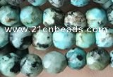 CTG3577 15.5 inches 4mm faceted round African turquoise beads