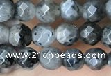 CTG3586 15.5 inches 4mm faceted round black labradorite beads