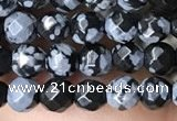 CTG3595 15.5 inches 4mm faceted round snowflake obsidian beads