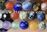CTG3596 15.5 inches 4mm faceted round mixed gemstone beads