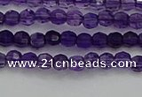 CTG553 15.5 inches 4mm faceted round tiny amethyst beads