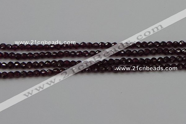 CTG555 15.5 inches 4mm faceted round tiny purple garnet beads