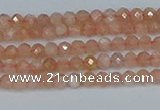CTG607 15.5 inches 3mm faceted round peach moonstone beads