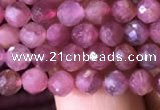 CTG708 15.5 inches 5mm faceted round tiny pink tourmaline beads