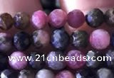 CTG727 15.5 inches 5mm faceted round tiny tourmaline beads