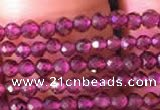 CTG802 15.5 inches 2mm faceted round tiny red garnet beads