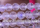 CTG836 15.5 inches 6mm faceted round tiny white moonstone beads