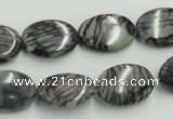 CTJ12 16 inches 13*18mm oval black water jasper beads wholesale