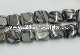 CTJ14 16 inches 10*10mm square black water jasper beads wholesale