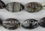 CTJ210 15.5 inches 12*20mm marquise black water jasper beads wholesale
