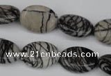 CTJ220 15.5 inches 15*20mm oval black water jasper beads wholesale