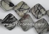 CTJ264 15.5 inches 15*15mm diamond black water jasper beads