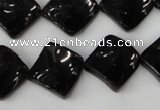 CTO130 15.5 inches 15*15mm twisted diamond black tourmaline beads