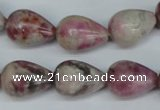 CTO219 15.5 inches 13*18mm teardrop pink tourmaline gemstone beads
