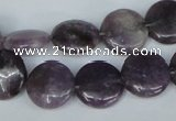 CTO223 15.5 inches 15mm flat round tourmaline gemstone beads