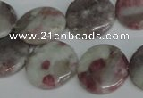 CTO235 15.5 inches 20mm flat round pink tourmaline gemstone beads