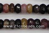 CTO376 15.5 inches 4*6mm faceted rondelle natural tourmaline beads