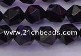 CTO647 15.5 inches 10mm faceted nuggets black tourmaline beads