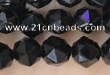 CTO716 15.5 inches 6mm faceted nuggets black tourmaline beads