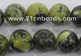 CTP106 15.5 inches 16mm round yellow pine turquoise beads wholesale