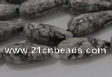 CTR102 15.5 inches 8*20mm faceted teardrop grey picture jasper beads