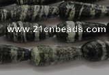 CTR103 15.5 inches 8*20mm faceted teardrop green silver line jasper beads