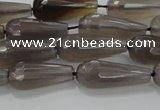 CTR106 15.5 inches 8*20mm faceted teardrop grey agate beads