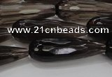 CTR137 15.5 inches 10*30mm faceted teardrop smoky quartz beads