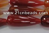 CTR142 15.5 inches 10*30mm faceted teardrop red agate beads