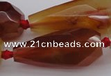 CTR211 15.5 inches 15*25mm - 16*40mm faceted teardrop red agate beads