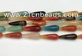 CTR463 15.5 inches 10*30mm faceted teardrop agate beads wholesale
