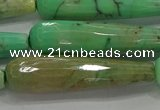 CTR67 15.5 inches 10*40mm faceted teardrop grass agate beads