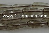 CTR85 15.5 inches 6*16mm faceted teardrop smoky quartz beads