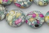 CTU110 16 inches 20mm flat round dyed flower turquoise beads wholesale