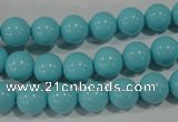 CTU1214 15.5 inches 12mm round synthetic turquoise beads