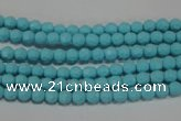 CTU1220 15.5 inches 4mm faceted round synthetic turquoise beads