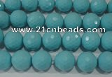CTU1221 15.5 inches 6mm faceted round synthetic turquoise beads