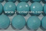 CTU1226 15.5 inches 16mm faceted round synthetic turquoise beads