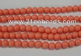 CTU1311 15.5 inches 4mm round synthetic turquoise beads