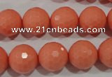 CTU1326 15.5 inches 14mm faceted round synthetic turquoise beads