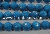 CTU1633 15.5 inches 10mm faceted round synthetic turquoise beads