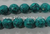 CTU1685 15.5 inches 12mm faceted round synthetic turquoise beads