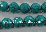 CTU1686 15.5 inches 14mm faceted round synthetic turquoise beads