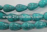 CTU1691 15.5 inches 9*13mm teardrop synthetic turquoise beads