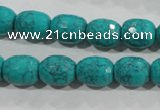 CTU1725 15.5 inches 10*12mm faceted drum synthetic turquoise beads