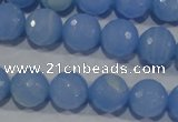 CTU1745 15.5 inches 12mm faceted round synthetic turquoise beads