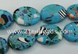 CTU2021 15.5 inches 13*18mm oval synthetic turquoise beads