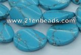 CTU203 16 inches 15*20mm twisted oval imitation turquoise beads