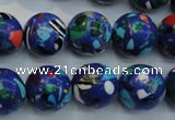 CTU2075 15.5 inches 14mm round synthetic turquoise beads